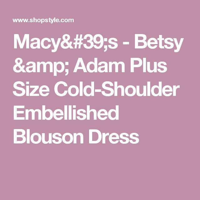 Macy's - Betsy & Adam Plus Size Cold-Shoulder Embellished Blouson Dress