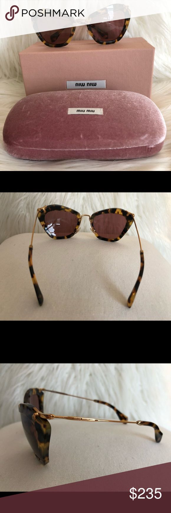 Miu Miu Tortoise Cat Eye Sunglasses New like condition worn only a couple of times.  It's Miu Miu version of a cat eye sunglass in a beautiful tortoise frame. Comes with iconic box, case.  Theses are  very classy and will mover go out of style.  I will consider all offers. Miu Miu Accessories Sunglasses