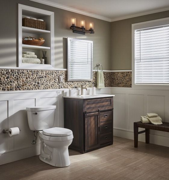 Design A Spa Like Bath With A Rich Brown Farmhouse Vanity Paired With A  Pebble