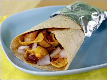 Dutch Oven Frito Pie Burrito Recipe        Recipe Ingredients:        2 lbs of ground beef      2 small onions, diced      1 15-ounce can of tomato sauce      2 cans kidney beans or chili beans      1 Lg bag of Fritos      1 bag of shredded cheese (taco flavor is good!)  salt, pepper, garlic salt, chili powder to taste         2-3 pkgs of flour tortillas         1 can corn      sour cream (optional)      lettuce (optional)        Cooking instructions:      Following the Dutch Oven directions, brown ground beef with onions and salt and pepper. When cooking is completed, drain beef. Spread a generous layer of Fritos on the bottom of the Dutch Oven, reserving some for later. Top the Frito layer with drained beef. In a separate bowl, stir together the tomato sauce, beans and corn. Add spices to taste. Pour mix over beef layer. Cook for approximately 35-45 minutes at 350 degrees. Spoon into flour tortillas and sprinkle cheese on top .  Add lettuce and sour cream, if desired.   Roll up and enjoy!            Feeds about 8 hungry people.Hungry Girls, Dutch Ovens, Chilis Frito Burritos, Ground Beef, Cream Options, Mexicans Cuisine, Neat O' Chilis Frito, Flour Tortillas, Food Recipe