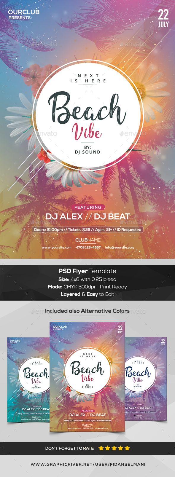 Beach Vibe - PSD #Flyer Template - #Events Flyers Download here:  https://graphicriver.net/item/beach-vibe-psd-flyer-template/20292490?ref=alena994
