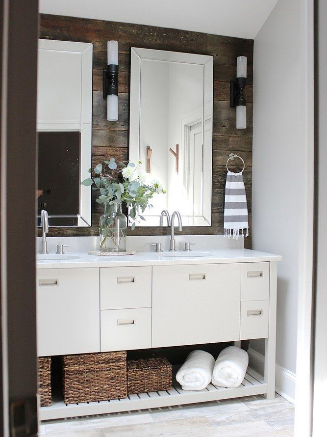 14 Small Bathroom Makeovers That Make The Most Of Every Inch Modern Farmhouse Bathroom Rustic Bathrooms Modern Bathroom Design
