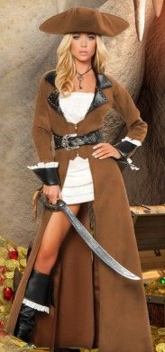 Disfraz de pirata para chica. Este es uno de nuestros disfraces mejor valorados. Ss acabados logran que se destaque ante los otros disfraces de pirata que generalmente son muy simples.