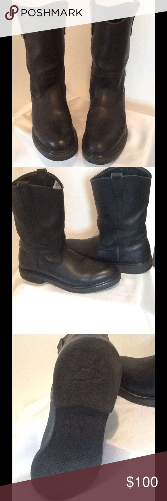 Men's Red Wing Pecos Boots (USED) Red Wing Pecos Non Steel toe black boots used but in good condition shows some wear. Size 10.5 B Red Wing Shoes Boots