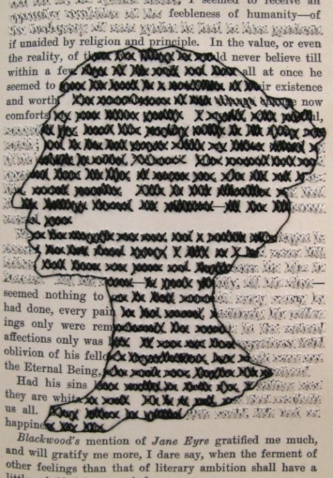 Lauren DiCioccio, 2009, The Great English Letter Writers (Cross-stitch into found book), detail