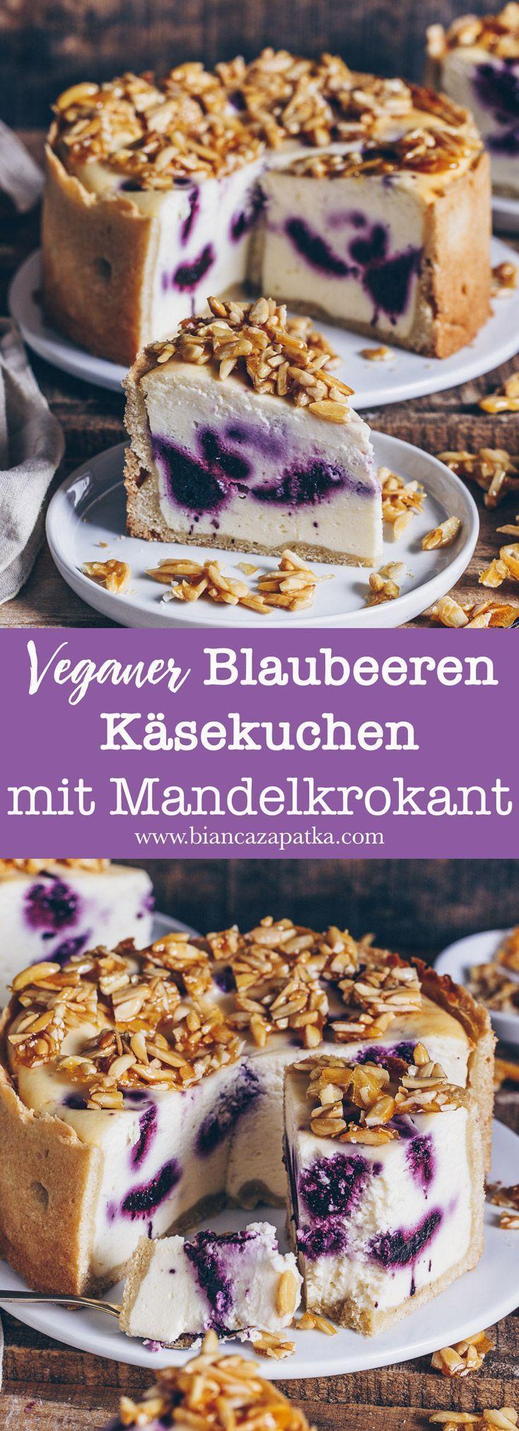 Veganer Blaubeeren Käsekuchen mit Mandelkrokant