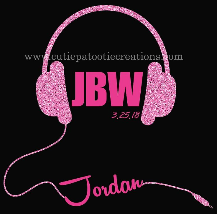 Headphones Bat Mitzvah Logo - Pink and Black - Custom Colors Available - Great for Music or Club Theme Mitzvahs. Can be designed for B'Nai Mitzvah, Bar Mitzvah and B'Not Mitzvah by Cutie Patootie Creations.