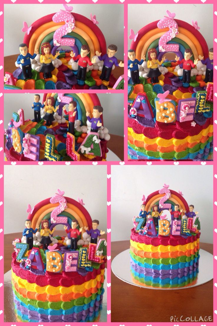 """My """"Rainbow Wiggles """" cake for my granddaughter Izabellas 2nd birthday White chocolate mud rainbow cake layers filled with white chocolate ganache and frosted with vanilla bean buttercream decorated with a handmade fondant rainbow number 2 and standing letters Toy wiggles figurines supplied by Izabellas mummy"""