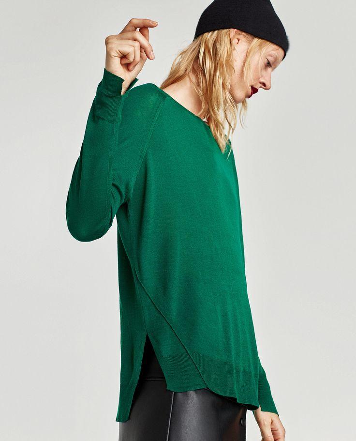 Camisola com aberturas laterais (verde): ZARA (12,95€)