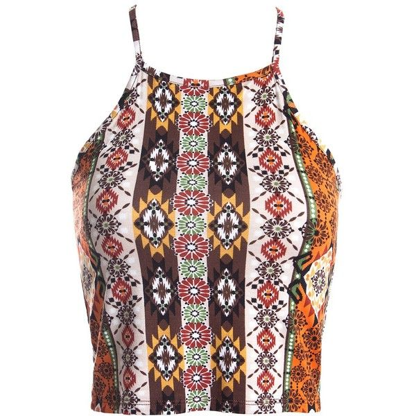 Sans Souci Aztec print crop top ($6.90) ❤ liked on Polyvore featuring tops, orange browm, fitted crop tops, red top, strap crop top, red camisole top and cami top