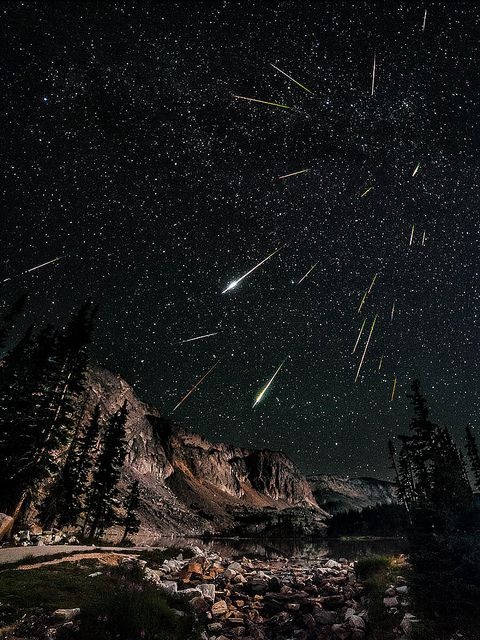 Stunning 23-photo composite of the Perseid meteor shower taken in 7 hours by David Kingham, via Flickr