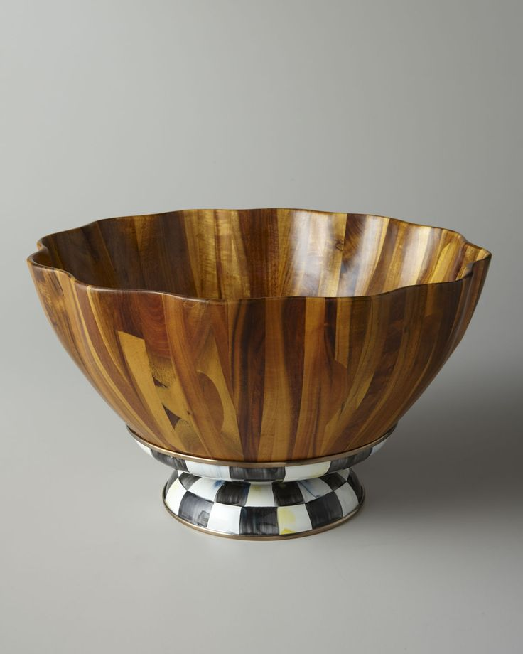 MacKenzie-Childs Courtly Check Fluted Wooden Salad Bowl - Neiman Marcus