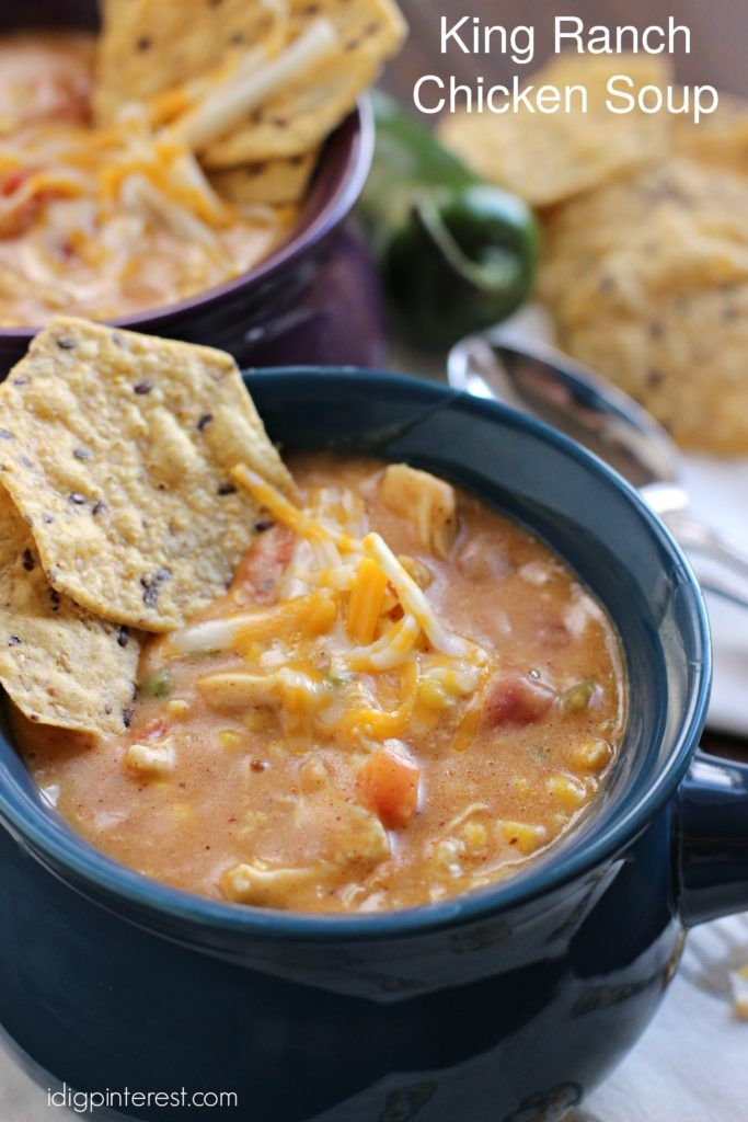 King Ranch Chicken Soup. Enjoy fall and comfort food season with this yummy King Ranch Chicken Soup.  It'll warm you right through! And you can pop it in the crockpot in the morning and forget about it until dinner!