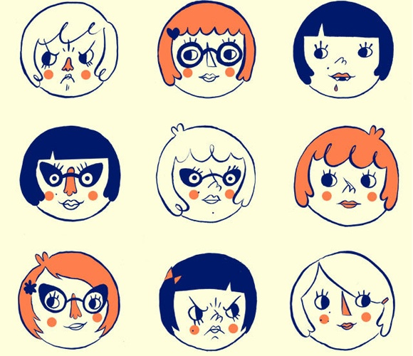 Girls Poster  by Tuesday Bassen Illustration    Girls, Girls, Girls! 12 pissy, sweet, and savvy girl faces illustrated and screen printed on thick, luscious Pop*Tone paper. Give it to your bestie, your girl crush, or hang it in your lady-lovin' apartment/studio/house/cubicle!    $21.25
