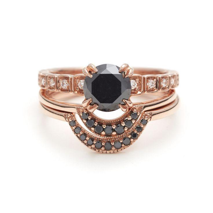 Tiny Wheat Engagement set in Black Diamond & Rose Gold with white diamonds – Anna Sheffield Jewelry