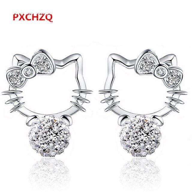 Pxchzq intermitente sección cute hello kitty stud pendientes de cristal de la joyería femenina princesa estética pequeño gato stud pendientes 6mm