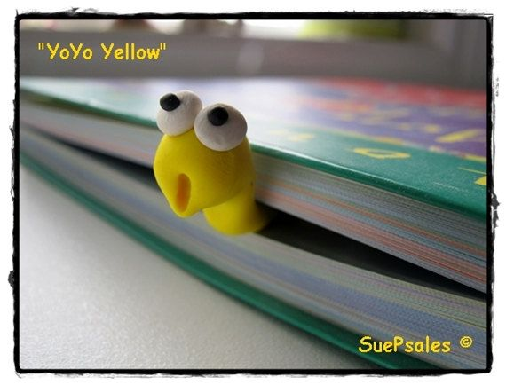 3D Bookmark Bookworm Reading Buddy Polymer Clay by SuePsales, $8.00