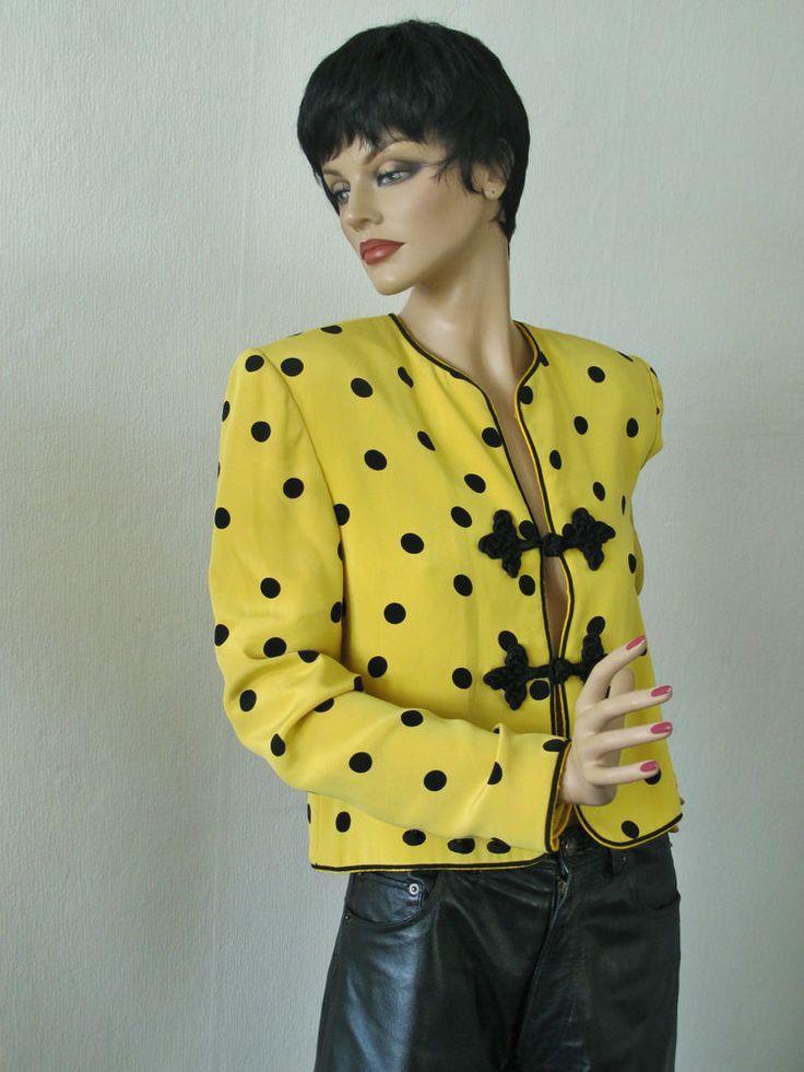 Edle Designer NONO MALDONATO Couture Jacke Blazer Gelb Polka Dots schwarz Tupfen in Kleidung & Accessoires, Damenmode, Jacken & Mäntel | eBay!