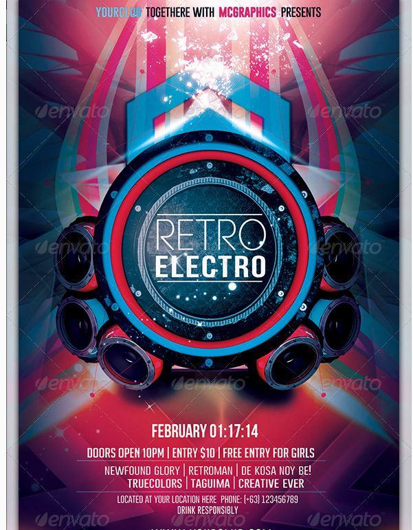 24 best Electro Night Flyer Template images on Pinterest - electro flyer
