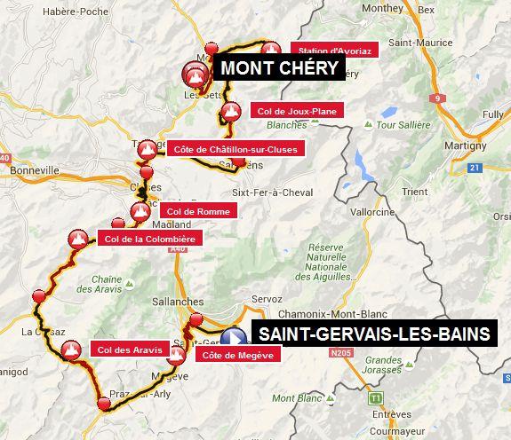carte 15 _ 15ème étape–Saint-Gervais-les-Bains– Domancy – Combloux –Côte de Megève– Megève – Praz-sur-Arly – Flumet – La Giettaz –Col des Aravis– La Clusaz – Saint-Jean-de-Sixt – Le Grand-Bornand –Col de la Colombière– Le Reposoir –Col de Romme– Cluses –Côte de Châtillon-sur-Cluses– La Rivière-Enverse – Morillon – Samoëns–Col de Joux-Plane– Morzine –Station d'Avoriaz–demi-tour – Les Lindarets – Montriond – Les Gets –Mont Chéry= 175 km