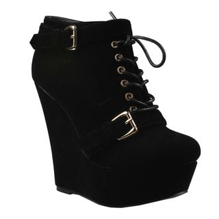 @Overstock - Embrace the punk or grunge look with these trendy wedge booties from Refresh featuring a cool lace-up vamp accented with edgy buckles across the front. These booties have a tall wedge heel with a generous hidden platform for a sexy leggy look