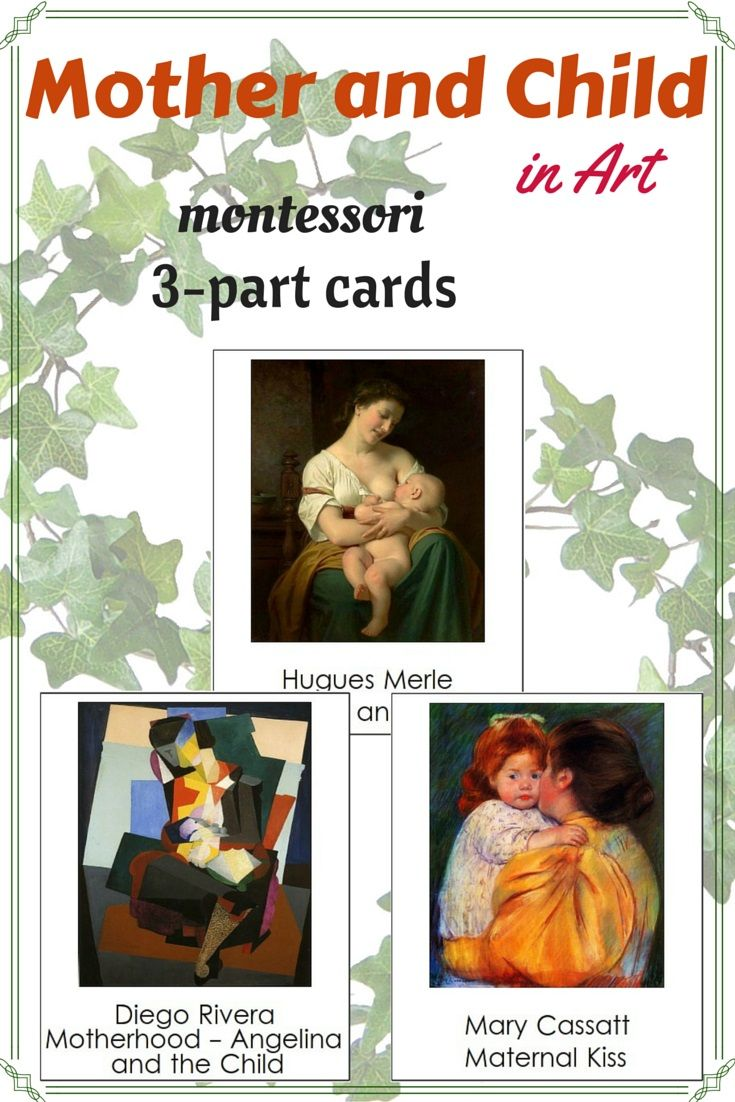Montessori Mother and Child in Art Cards. These cards consist of beautful and amazing artworks of different painters depicting mother and child. Paintings are carefully choosen for art appreciation and show different art techniques.