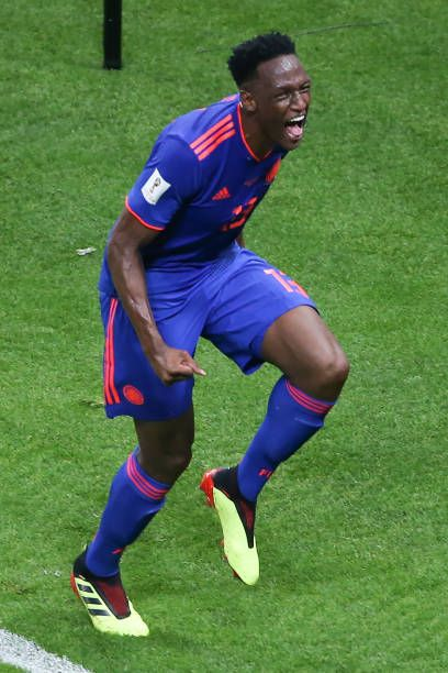 7ca71a453 Colombia s defender Yerry Mina celebrates after scoring the opener during  the Russia 2018 World Cup Group H football match between Poland and.