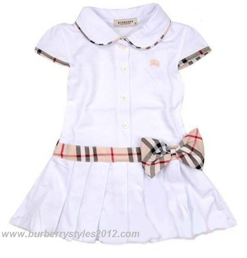 Burberry Kids Bow Check Dress White