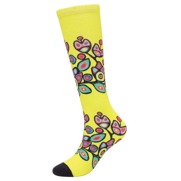 Noval Morrisseau Floral on Yellow Art Socks - Available May 2017
