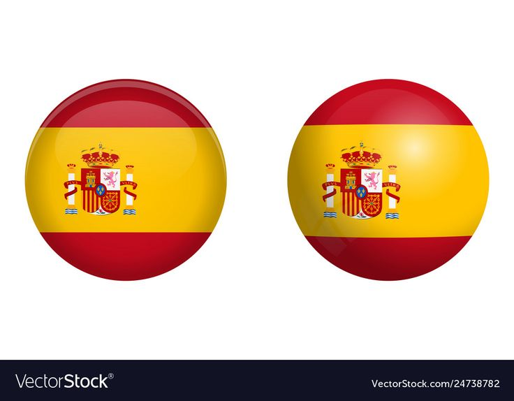 Spain flag under 3d dome button and on glossy Vector Image ...