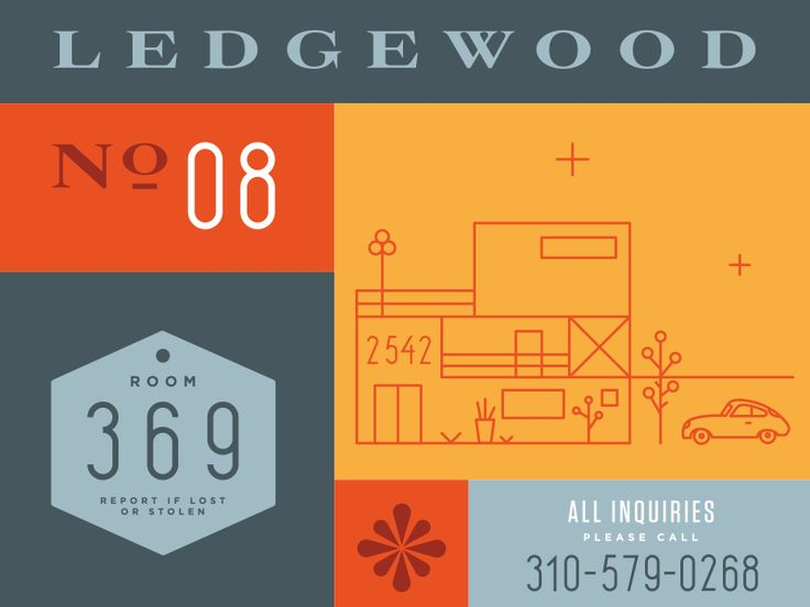 Ledgewood Numerals; inspired by mid-century modern property numbers in Los Angeles. Completed set is available to download on my site. Try it out!