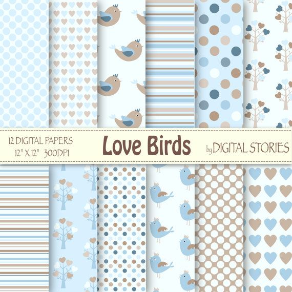 "Baby Boy Digital Paper: ""LOVE BIRDS"" Blue White Beige with hearts, birds, trees for scrapbooking, invites, cards"