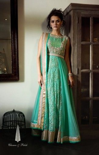 Chamee & Palak Mumbai - Seagreen pleated drape dress, with zardozi & pearl detailing