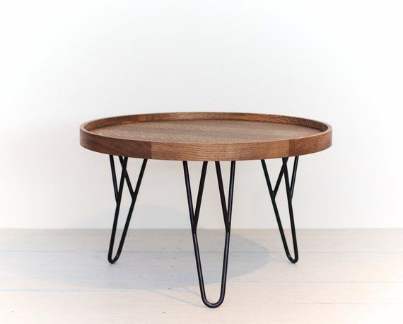Round Smoked Oak Coffee Table With Hairpin Legs Round Wooden