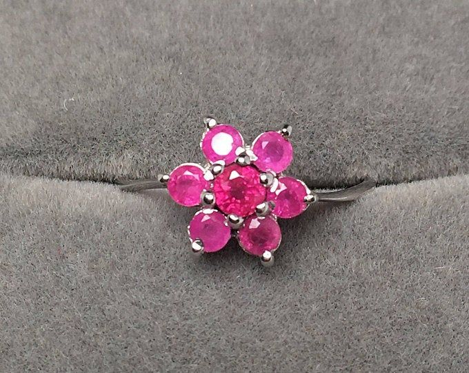 Natural 8mm Pink Topaz White Gold Plated Solid 925 Sterling Silver Ring