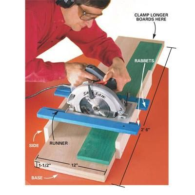 Circular Saw Crosscutting Guide - The Family Handyman Circular Saw Crosscutting Guide. Get perfect 90-degree cuts with a circular saw with this jig. Glue and screw two 3/4-in. plywood pieces together and rip them to 12-in. wide (or larger). Screw the base sides to the base. Rout rabbets on each runner. Finally, screw one runner to the base sides at exactly 90 degrees and then align the other runner parallel and just far enough apart for the saw's base plate.