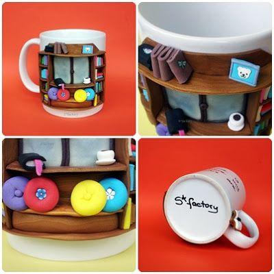 Bookshelf made out of polymer clay http://sfactory-sara.blogspot.com/