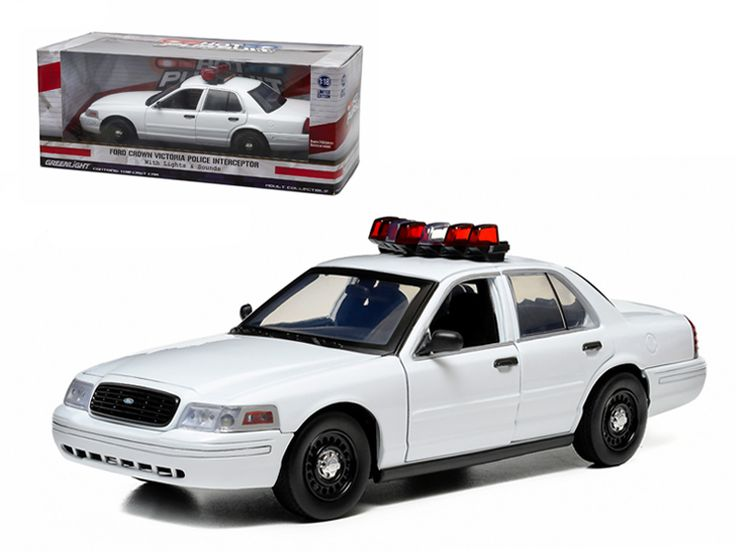 Ford Crown Victoria Unmarked Plain White Police Car Interceptor With Lights and Sounds 1/18 Diecast Model Car by Greenlight - Brand new 1:18 scale car model of Ford Crown Victoria Unmarked Plain White Police Car Interceptor With Lights and Sounds diecast car model by Greenlight. Built in flashing lights. Working siren. Opening doors, hood. Rubber tires. Brand new box. Has steerable wheels. Requires 3 AAA batteries. Has opening hood and doors. Detailed interior, exterior, engine compartment…