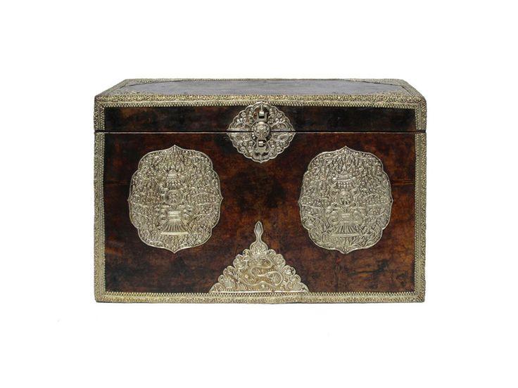 Tibetan Handmade Leather Surface Silver Color Hardware Wooden Trunk M110 #handmade