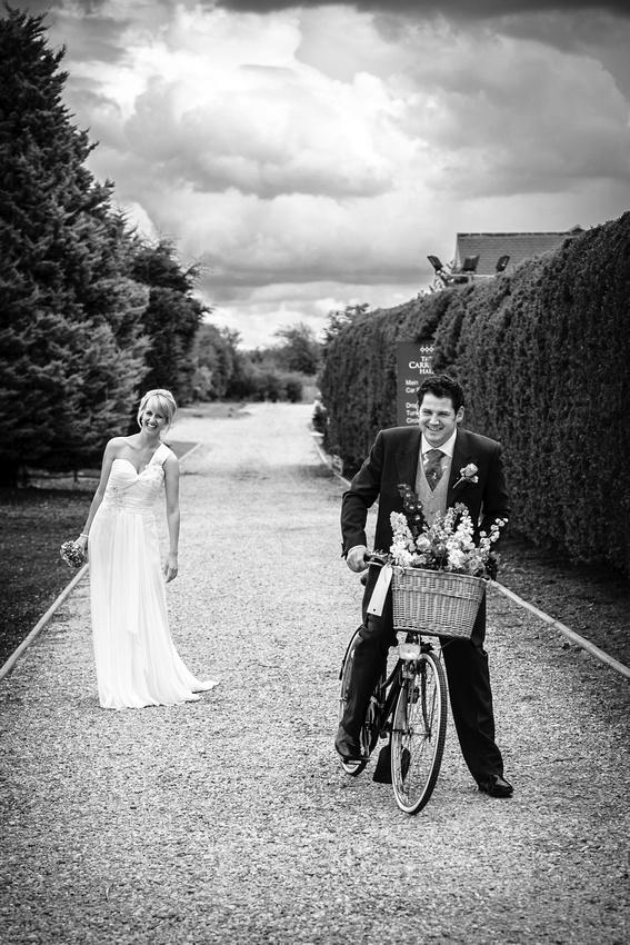 Amy Steve Vintage Bike The Carriage Hall Plumtree Derby Wedding Photographer