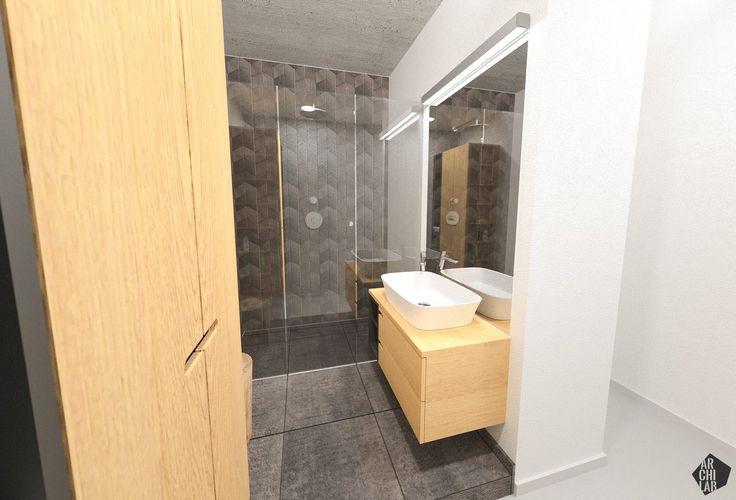 Návrh kúpeľne a toalety - Interiér bytu Ambroseho, Bratislava - Interiérový dizajn / Bathroom interior by Archilab