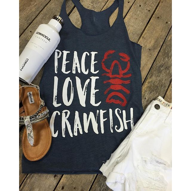 """""""Crawfish season is the best season! ❤️ #Peace #Love #Crawfish $29.99 (S-L) #White #Distressed #Shorts $29.99 (S&M) #NotRated #Sandals $39.99 (6-11) #Corkcicle 16oz. #Canteen $27.95 We #ship! Call to order! 903.322.4316 #shopdcs #goshopdcs #shoplocal #love #peacelovecrawfish #crawfishseason"""" Photo taken by @daviscountrystore on Instagram, pinned via the InstaPin iOS App! http://www.instapinapp.com (04/16/2016)"""