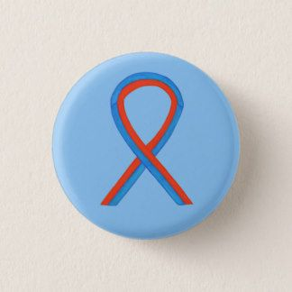 Blue and Red Ribbon Awareness Button Pins - The red and blue awareness ribbon color means supports Noonan Syndrome, Sudden Arrhythmia Death Syndromes (SADS), Congenital Heart Defect, Hypoplastic Left Heart Syndrome, and Pulmonary Fibrosis.