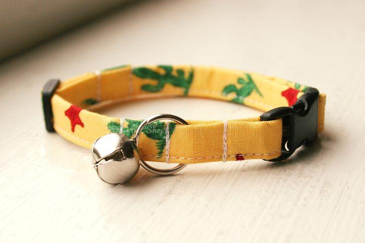 Cactus Cat Collar, Breakaway Cat Collar, Handmade Cat Collar, Cat Accessories, Pet Accessories, Fabric Cat Collar, Southwest Cowboy Yellow by KirasPetShop on Etsy https://www.etsy.com/listing/267226816/cactus-cat-collar-breakaway-cat-collar