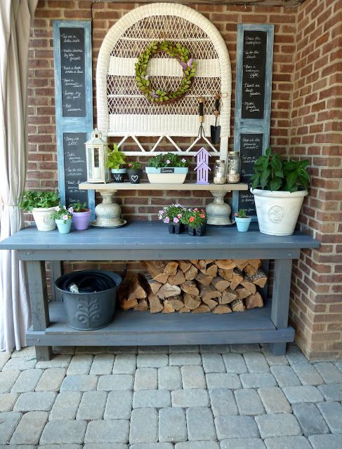 potting❤ bench and wood storage Love this idea