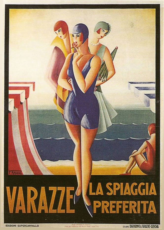 Vintage Italian Posters - Italy. Filippo Romoli's posters. www.italianways.com/filippo-romoli-and-the-venuses-of-liguria/