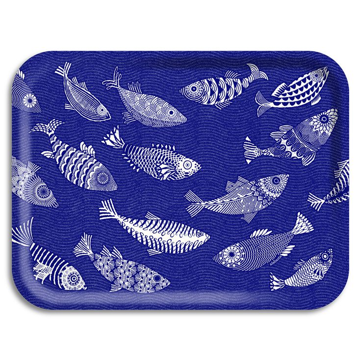 """wooden tray """"Alabasta"""" blue fish (large) 