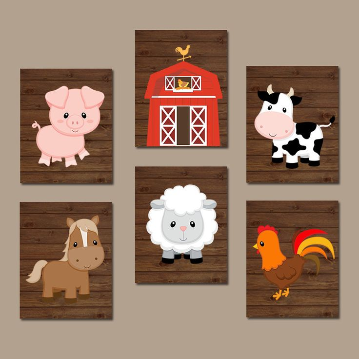 FARM Animals Wall Art Canvas or Prints Country Baby Boy