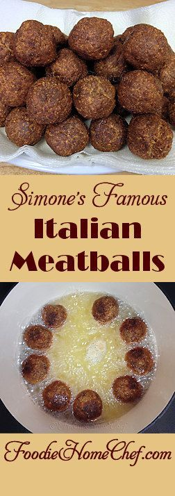 Simone's Famous Italian Meatballs - I created these #meatballs in the early 1970's & have never changed the original recipe because they've always gotten rave reviews. A bit labor intensive, but actually fun to make & well worth the effort. Once you taste these, mellowed in pasta sauce, you'll think you've gone to #Italian heaven! --------- #Food #Cooking #Recipes #Recipe #Cuisine #GreatFood #HomeCooking #ComfortFood #ItalianFood #ItalianRecipes #MeatballRecipes #ItalianMeatballs