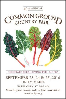 The 2016 Common Ground Country Fair poster portrays a beautiful array of rainbow Swiss chard. Artist, Toki Oshima.
